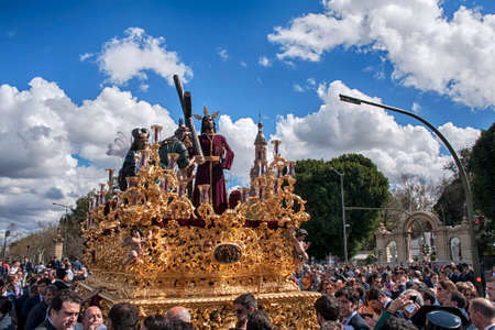 With the cross Jesus on the shoulder, brotherhoods of penance of Holy Week in Seville, Peace