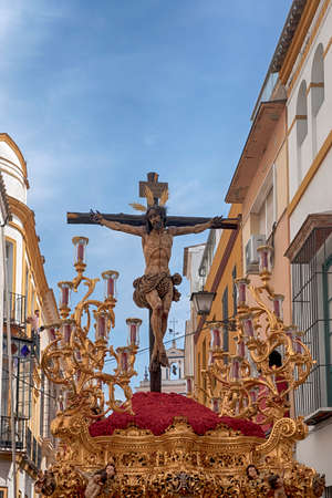 Brotherhood Of Thirst, Holy Week in Seville, Jesus on the cross Editorial