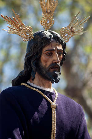 Jesus captive in the procession of the Holy Week in Seville