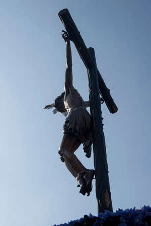 Christ on the cross of the Brotherhood of the Hiniesta, Easter in Seville Editorial