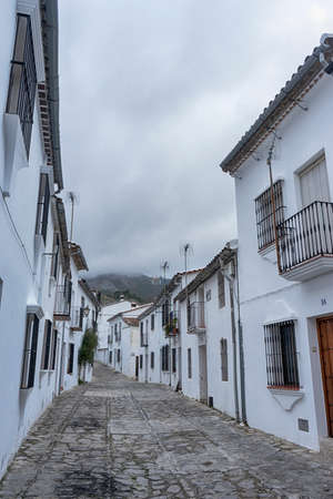 Beautiful Andalusian streets of the town of Grazalema in the province of Cadiz, Andalusia, Spain Stock Photo