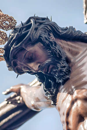 Christ on the cross of the Brotherhood of the Hiniesta, Easter in Seville Banque d'images
