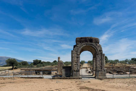 Arco de Cáparra in the Ruins of the ancient Roman city of Caparra in the Extremadura community, Spain