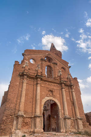 Belchite churches destroyed by bombing of civil war in Spain Stock Photo