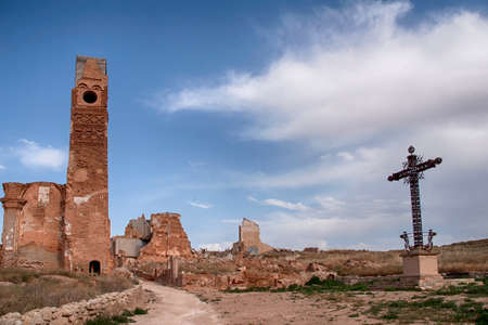 Belchite destroyed by the bombings of the civil war in Spain