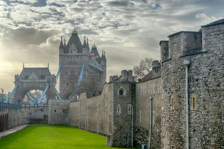 Wall of the Tower of London and Tower Bridge, United Kingdom
