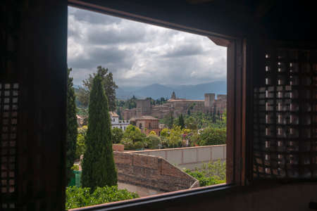 beautiful view of the largest monument in Andalusia, the Alhambra of Granada