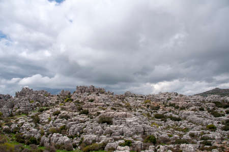 views of the area the natural landscape of torcal de Antequera and that this dates from the Jurassic Era 스톡 콘텐츠
