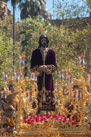 Image of Jesus captive in the procession through the streets of Seville in its holy week