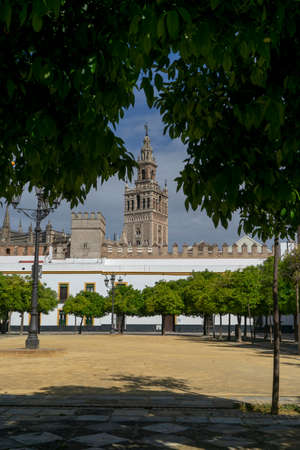 View of the beautiful tower of the Giralda in the city of Seville