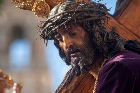 Padre Nuestro Jesús de la Humildad de la Cofradía del Cerro del Águila, Semana Santa de Sevilla Foto de archivo