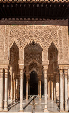 beautiful detail of the nazari architecture of the alhambra of Granada, Andalusia