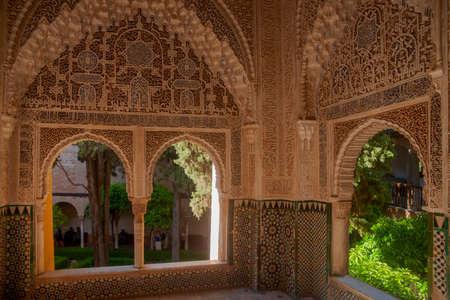 beau détail de l'architecture nazari de l'alhambra de Grenade, Andalousie