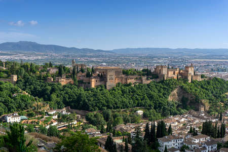 Beautiful Alcazaba nazari from the Alhambra in Granada, Andalusia Imagens