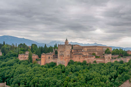 Beautiful Nasrid alcazaba of the Alhambra in Granada, Andalusia 免版税图像