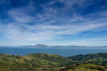 Mirador del Estrecho Natural Park in Tarifa with views of Mount Musa off the coast of Africa 版權商用圖片