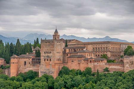 Beautiful Nasrid alcazaba of the Alhambra in Granada, Andalusia Editorial
