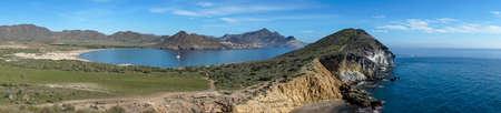 Panoramic view of the Genoese beach at Cabo de Gata, Almeria Imagens