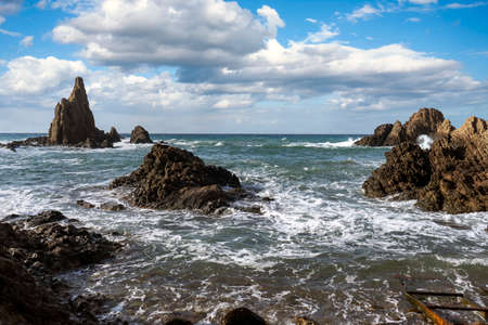 Reef of the sirens in the natural park Cabo de Gata, Almeria Imagens