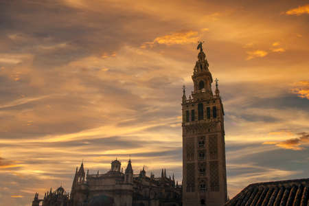 beautiful sunset over the Giralda of Seville, Andalusia