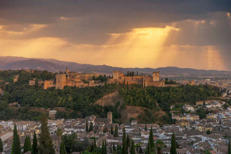 Beautiful sunset in the Alhambra of Granada, Andalusia