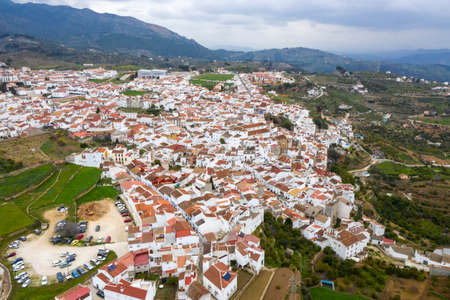 view of the municipality of Yunquera in the region of the Sierra de las Nieves National Park, Andalusia 스톡 콘텐츠