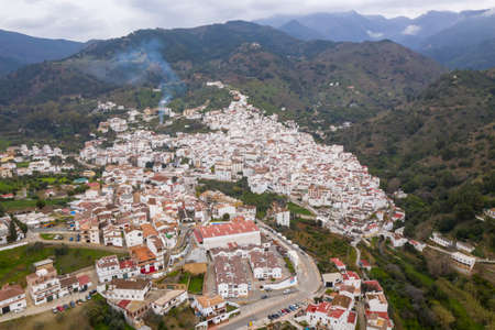 view of the municipality of tolox in the region of the Sierra de las Nieves National Park, Andalusia