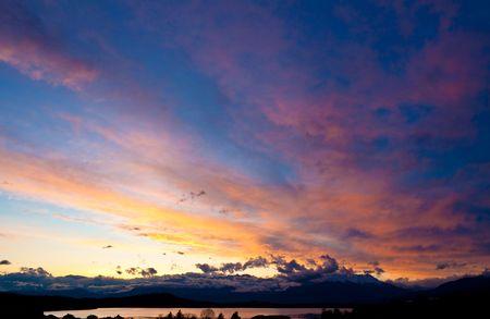 brilliant colors: Sunset on Viverone Lake in brilliant colors