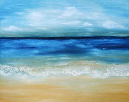 Mooi, blauwe, tropische zee en strand. Origineel olieverf op doek. Stockfoto