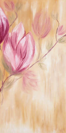 Original oil painting on canvas of spring magnolia flowers on warm pastel background