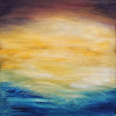 pinturas abstractas: Hermoso fondo abstracto con textura de cielo de la tarde la puesta del sol sobre el oc�ano. Pintura al �leo original en lona.