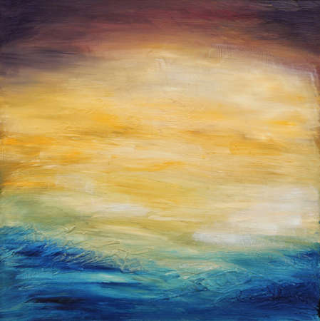 Prachtige abstracte geweven achtergrond van de avond zonsondergang hemel over de oceaan. Origineel olieverfschilderij op doek.