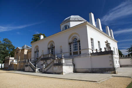 Chiswick House is a Palladian villa in Burlington Lane, Chiswick, in the London Borough of Hounslow in England  Stock Photo