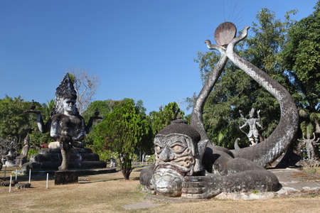 Buddha Park, also known as Xieng Khuan, is a park full of bizarre and eccentric statues near Vientiane, Laos, SE Asia Stock Photo
