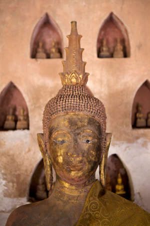 Buddha statue found in the cloister of Wat Si Saket, in Vientiane, Laos Editorial