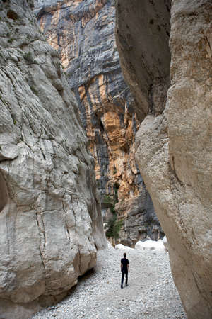 Walking in Gorropu Gorge, one of Europe s deepest, Sardinia, Italy Stock Photo