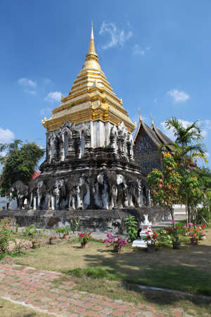 The Elephant Chedi at Wat Chiang Man, Chiang Mai, Thailand Stock Photo