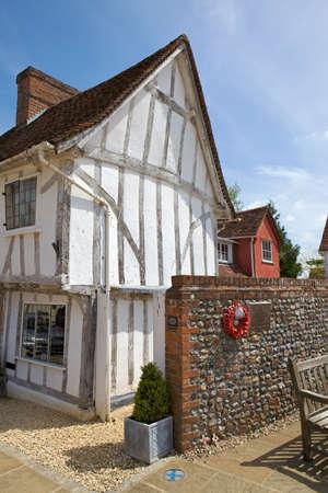 suffolk: Half-timbered medieval cottage in Lavenham, Suffolk  Stock Photo