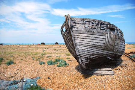 dungeness: Abandoned fishing trawler on Dungeness beach, Kent