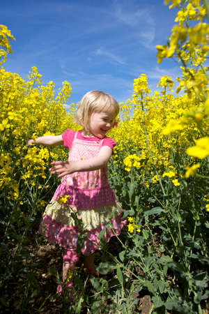 Happy toddler girl in rapeseed field photo