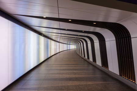 Pedestrian tunnel with integrated lightwall at Kings Cross