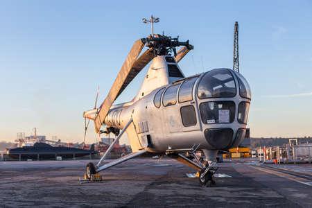 dockyard: Westland Dragonfly helicopter at Chatham Historic Dockyard