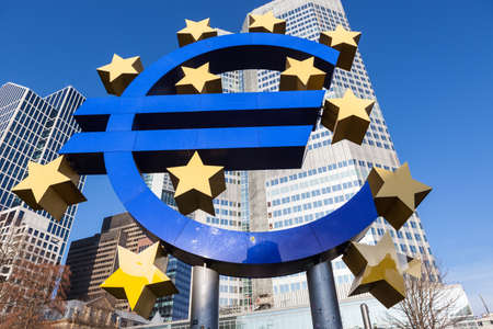 The Euro sign outside the European Central Bank in Frankfurt am Main. The European Central Bank is one of the world\ Stock Photo