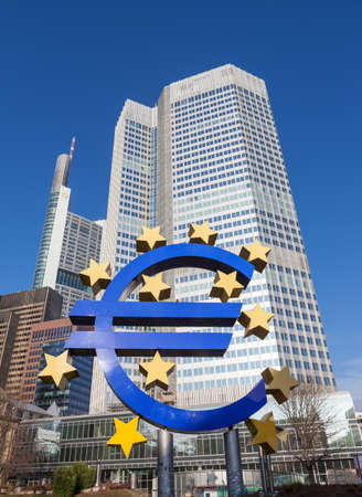 The Euro sign outside the European Central Bank in Frankfurt am Main. The European Central Bank is one of the world
