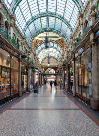 Shoppers walking through County Arcade in the Victoria Quarter in Leeds.