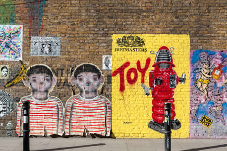 Street art off Brick Lane, London Editorial