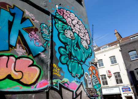 Street art off Brick Lane, London Editorial