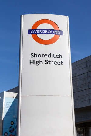 London Overground sign at Shoreditch High Street