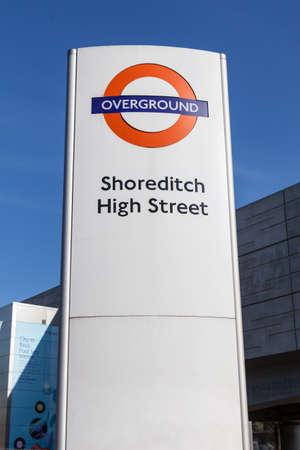 hamlets: London Overground sign at Shoreditch High Street