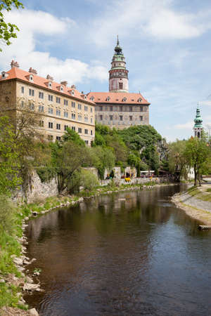 Beautiful view of the bell tower in the historic town of Cesky Krumlov, Czech republic